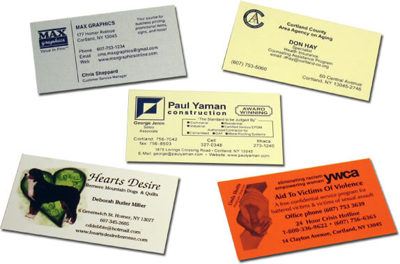 Max graphics custom printed business cards business cards from simple 1 color designs to full color die cut or folding designs were your source for quality custom printed business cards at competitive prices reheart Choice Image